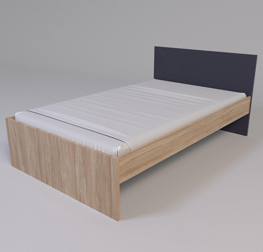 Кровать X-Скаут-12 120*200 без ламелей графит/дуб славония