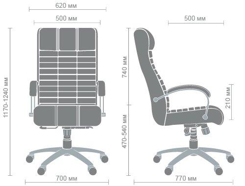 Технические характеристики кресла Атлантис хром